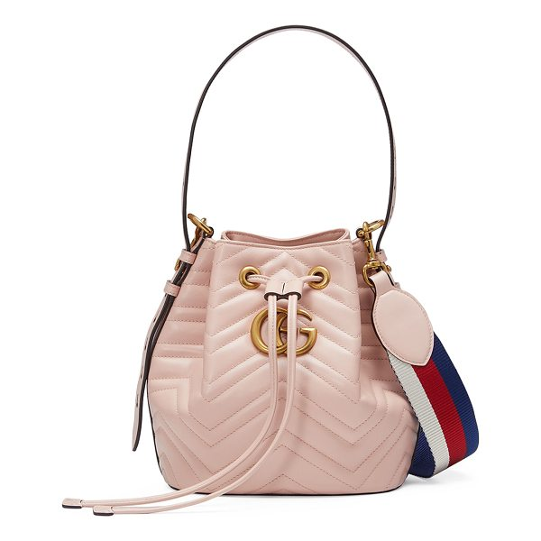 GUCCI GG Marmont Quilted Leather Bucket Bag - Gucci softly structured matelass chevron calfskin bucket...