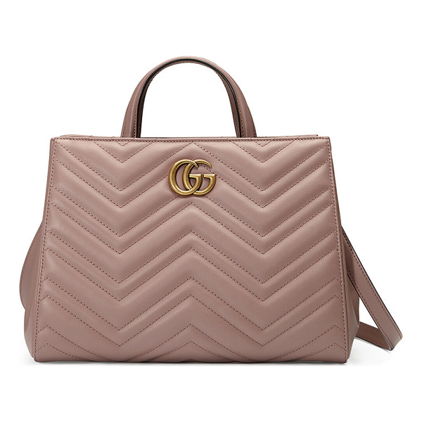 GUCCI GG Marmont Small Matelassé Top-Handle Bag - Gucci matelass leather bag with antiqued golden hardware.