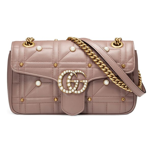 GUCCI GG Marmont Small Pearly Shoulder Bag - Gucci matelass leather shoulder bag with metal and pearly...