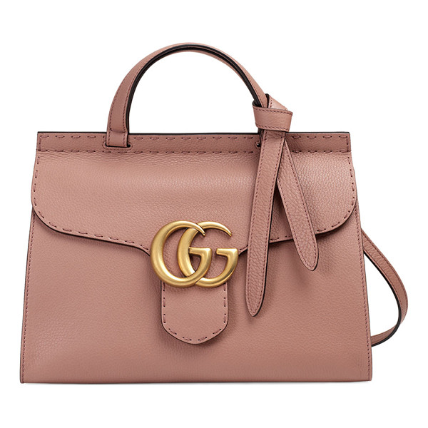GUCCI GG Marmont Small Top-Handle Satchel Bag - Gucci grained leather shoulder bag with golden hardware.