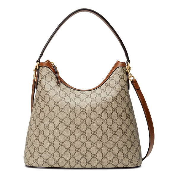 GUCCI GG Supreme Medium Hobo Bag - Gucci GG supreme canvas hobo bag with leather trim. Golden