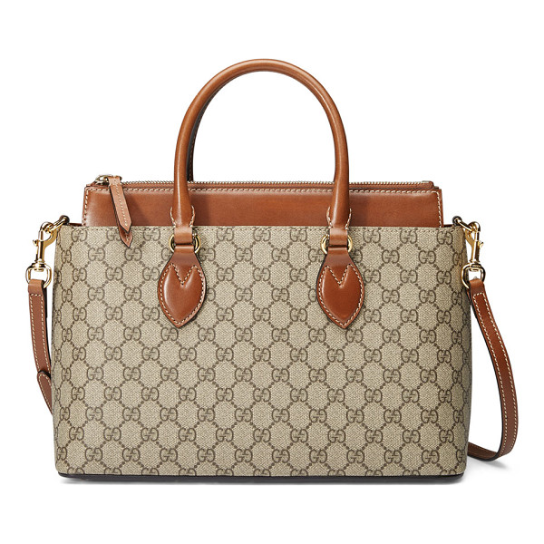 GUCCI GG Supreme Tote Bag - Gucci GG supreme canvas with brown leather detail. Golden