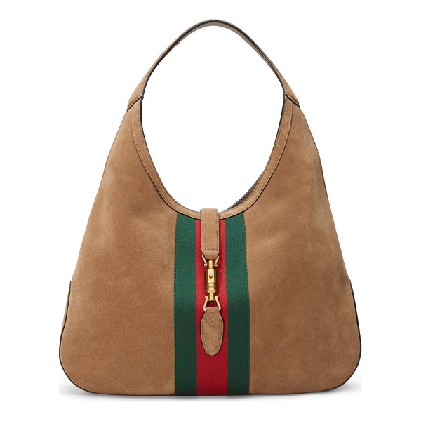 "GUCCI Jackie Soft Large Suede Hobo Bag - Gucci ""Jackie"" soft suede hobo bag. Green/red/green..."