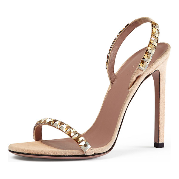 "GUCCI Mallory crystal-embellished suede sandal - Gucci peach suede sandal with gold shaded crystals. 4 1/3""..."