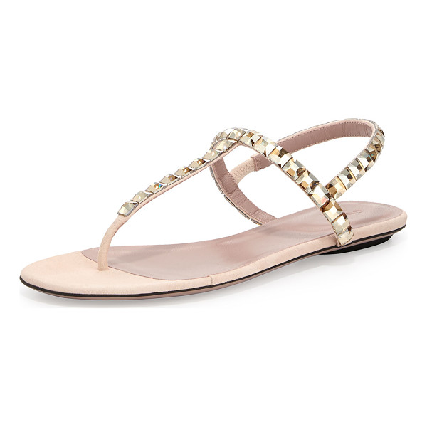 GUCCI Mallory crystal flat thong sandal - Gucci suede sandal with square crystal embellishments....