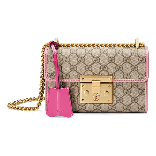 GUCCI Padlock Small GG Supreme Shoulder Bag - Gucci beige/ebony GG supreme canvas shoulder bag with