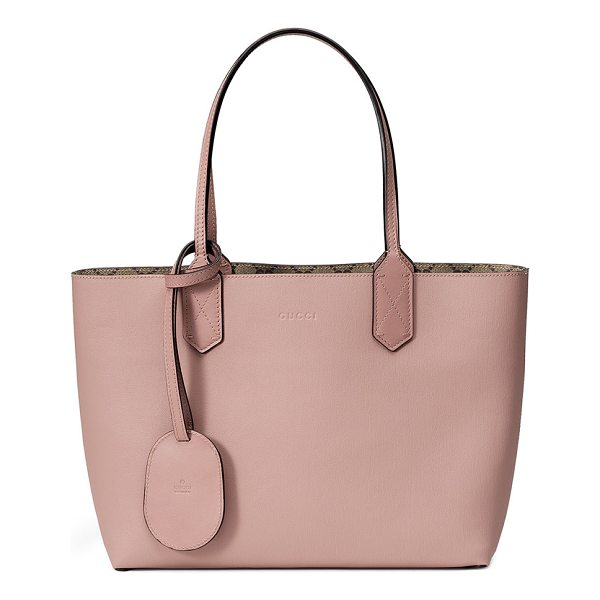 GUCCI Small Reverse Double GG Tote Bag - Gucci reversible tote bag in grain leather. Flat top handle...