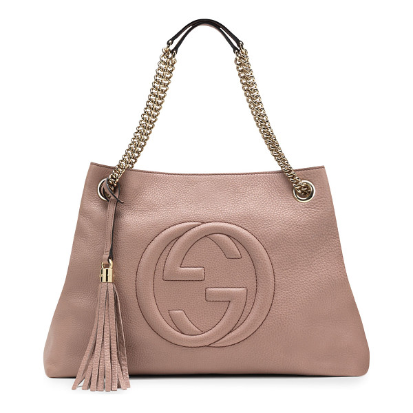 GUCCI Soho leather chain-strap tote - Leather. Light golden hardware. Embossed interlocking G....