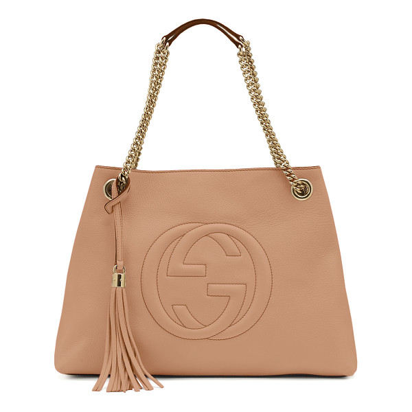 GUCCI Soho leather medium chain-strap tote - Gucci leather tote bag. Light golden hardware. Embossed...