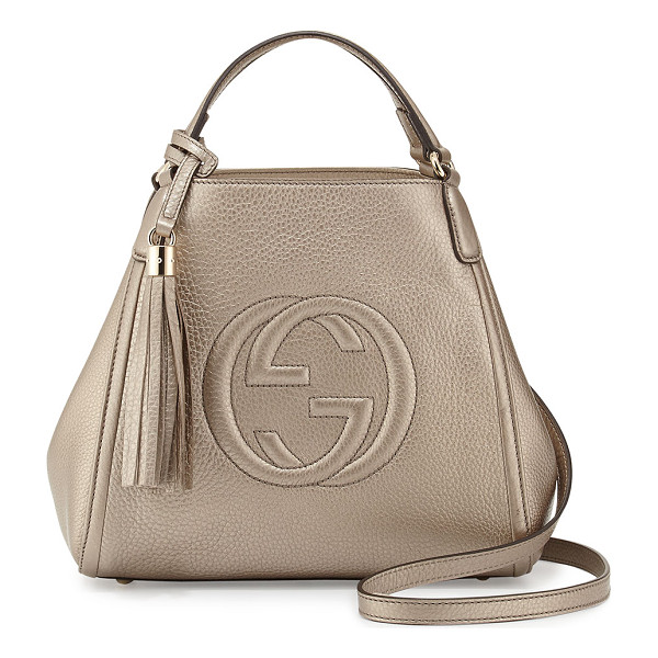 GUCCI Soho leather shoulder bag - Gucci metallic leather shoulder bag. Light fine golden...