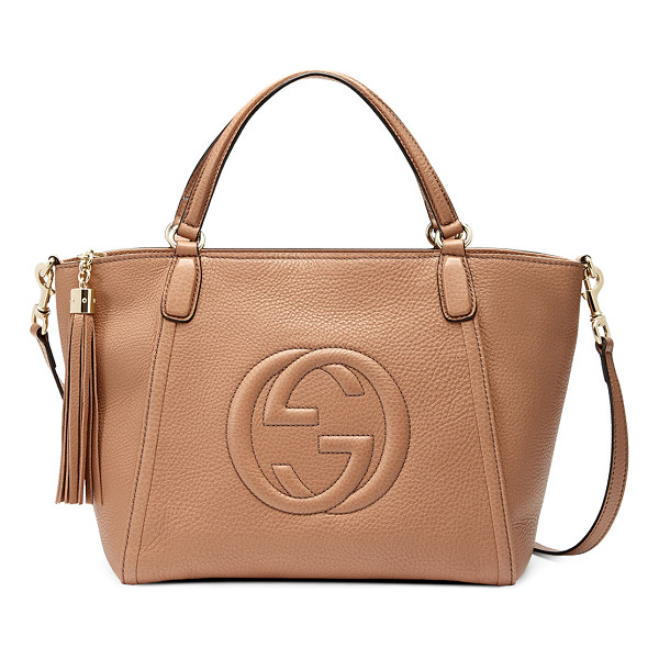 """GUCCI Soho small crossbody tote - Gucci leather tote with embossed interlocking """"G"""" detail...."""