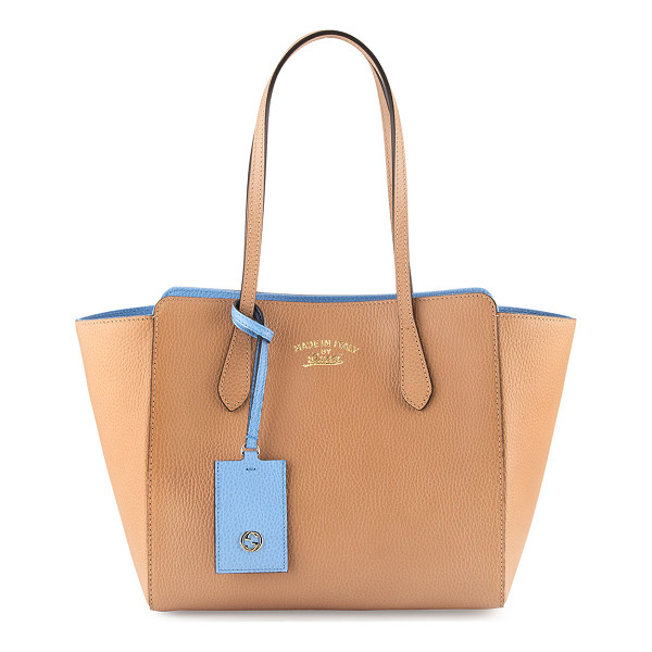 GUCCI Swing small tote bag - Gucci leather tote bag with contrasting interior color...