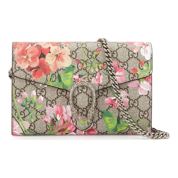 GUCCI GG Blooms Dionysus Wallet on a Chain - Gucci GG supreme canvas shoulder bag in geranium blooms...