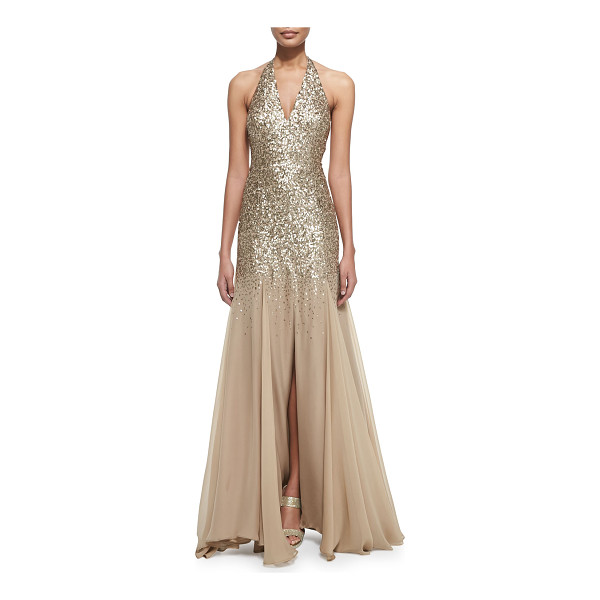 HALSTON Half-sequined halter mermaid gown - Halston gown with sequined top half and poly chiffon skirt....