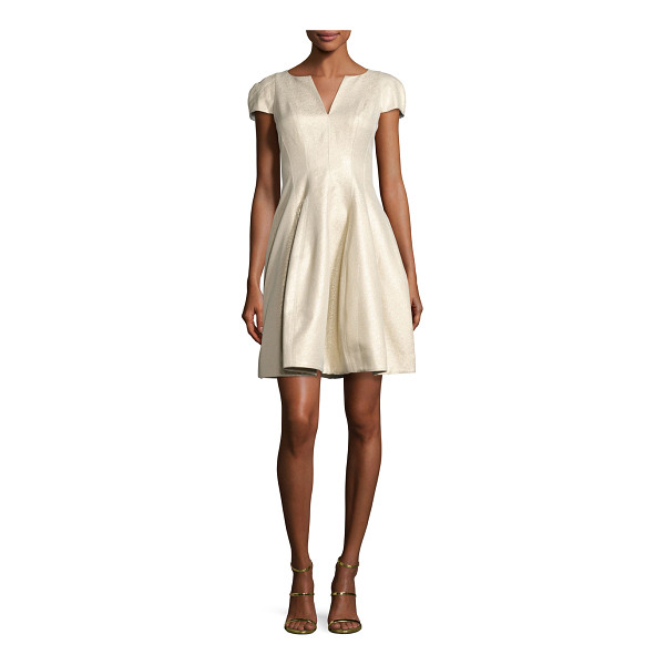 HALSTON Cap-Sleeve Metallic Structured Faille Dress - EXCLUSIVELY AT NEIMAN MARCUS Halston Heritage cocktail...