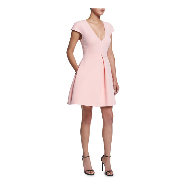 "HALSTON Cap-sleeve v-neck structured dress - Halston Heritage structured dress. Approx. length: 26""L..."