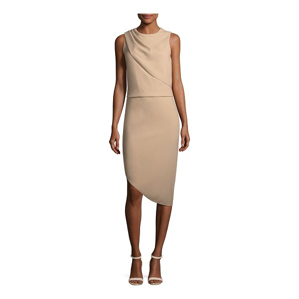 HALSTON Drape-Front Asymmetric-Hem Sheath Dress - Halston Heritage dress with drape-front detail. Crew...