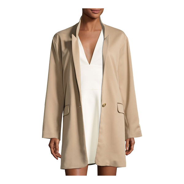 HALSTON Long Slim Single-Breasted Jacket - Halston Heritage single-breasted jacket. Notched collar;...