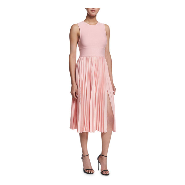 HALSTON Sleeveless Crisscross-Back Pleated Dress - Halston Heritage dress combines smooth-knit top and...