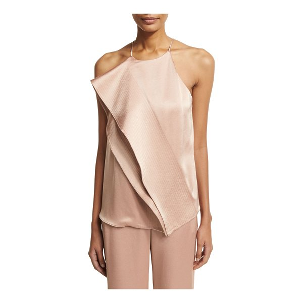 HALSTON Sleeveless Draped Satin Blouse w/ Topstitching - Halston Heritage draped satin blouse features multi-needle...