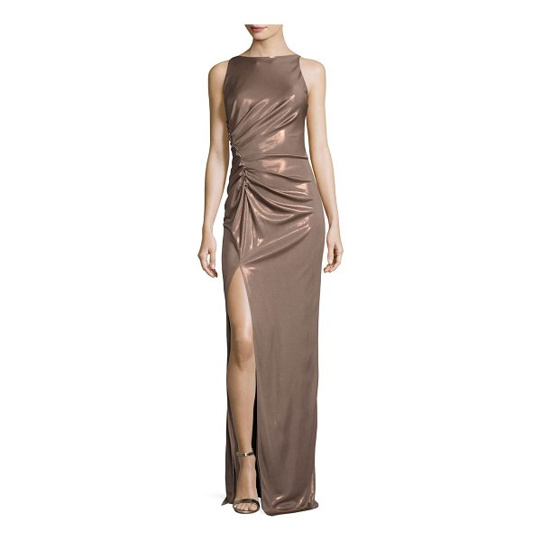 HALSTON Sleeveless High-Neck Ruched-Side Evening Gown - Halston Heritage metallic evening gown with ruching at...