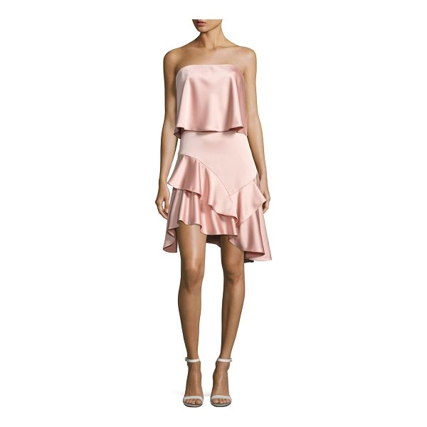 HALSTON Strapless Flounce Satin Cocktail Dress - Halston Heritage satin cocktail dress with ruffled flounce...