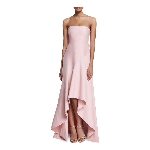 HALSTON Strapless Structured High-Low Gown - Halston Heritage woven gown. Approx. measurements (sizes...