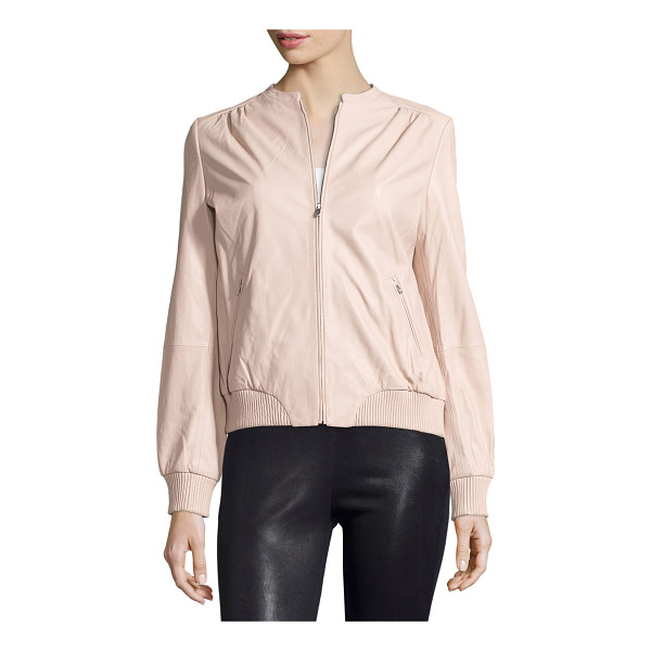 HALSTON Zip-front leather bomber jacket - Halston Heritage leather jacket. Jewel neckline; zip front....