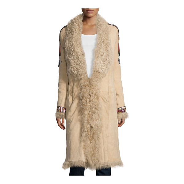HAUTE HIPPIE Embellished Fur Coat - Haute Hippie suede coat with dyed lamb shearling (China)...