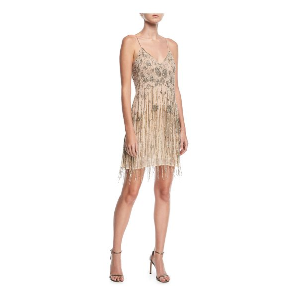 "HAUTE HIPPIE Taken Fringe V-Neck Sleeveless Mini Dress - Haute Hippie ""Taken"" embellished cocktail dress. V..."