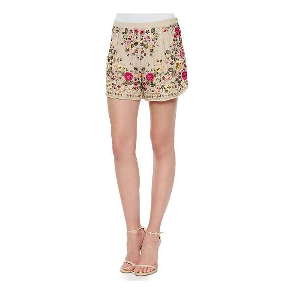 HAUTE HIPPIE Woven floral-embroidered shorts -  Haute Hippie crepe embroidered shorts. Natural rise....