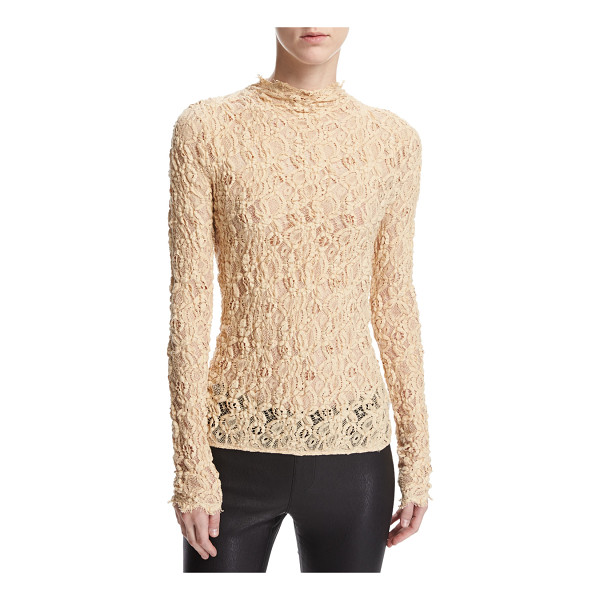 HELMUT LANG Long-Sleeve Embossed Lace Top - Helmut Lang shell top in sheer embossed lace. High...
