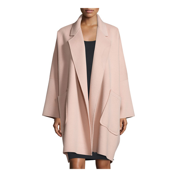HELMUT LANG Oversized Open-Front Wool-Blend Coat - Helmut Lang wool-blend coat, featuring cape-style...