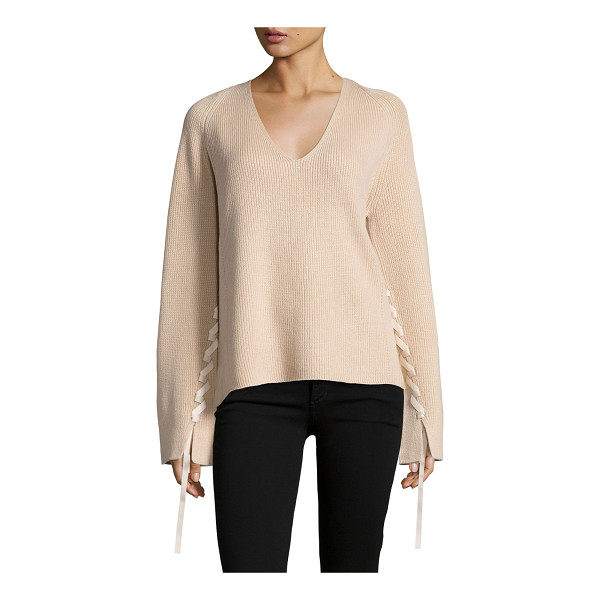 HELMUT LANG Ribbed Wool-Blend Pullover Sweater - Helmut Lang ribbed sweater in wool blend, featuring lace...
