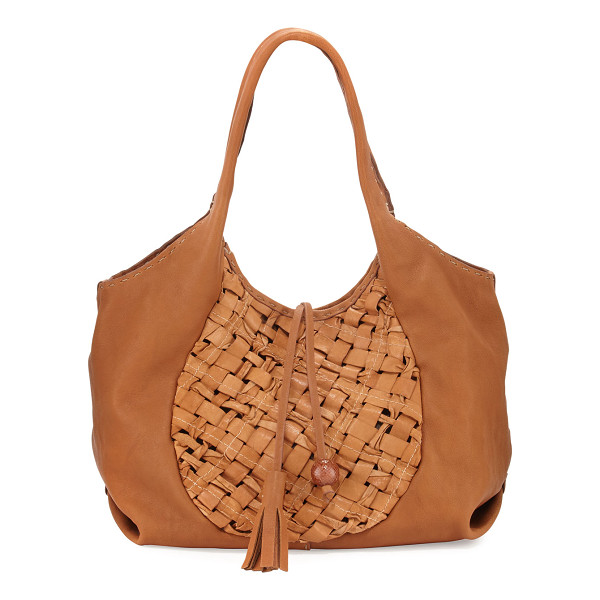 HENRY BEGUELIN Canotta Medium Woven Hobo Bag - Henry Beguelin smooth sheepskin hobo bag with woven