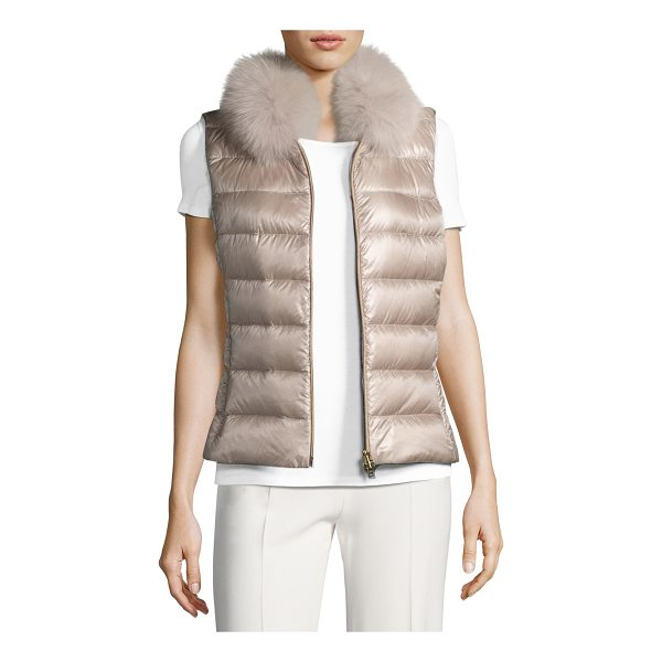 HERNO Quilted Puffer Vest w/ Fur Collar - EXCLUSIVELY AT NEIMAN MARCUS Herno quilted puffer vest....