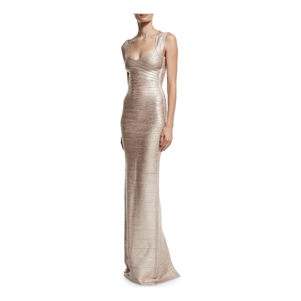 "HERVE LEGER Cap-Sleeve V-Neck Bandage Gown - Herve Leger metallic bandage knit gown. Approx. 49""L down..."