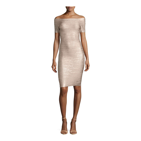 HERVE LEGER Carmen Bandage Cocktail Dress - Herve Leger stretch-knit bandage dress. Bandage knit widens...