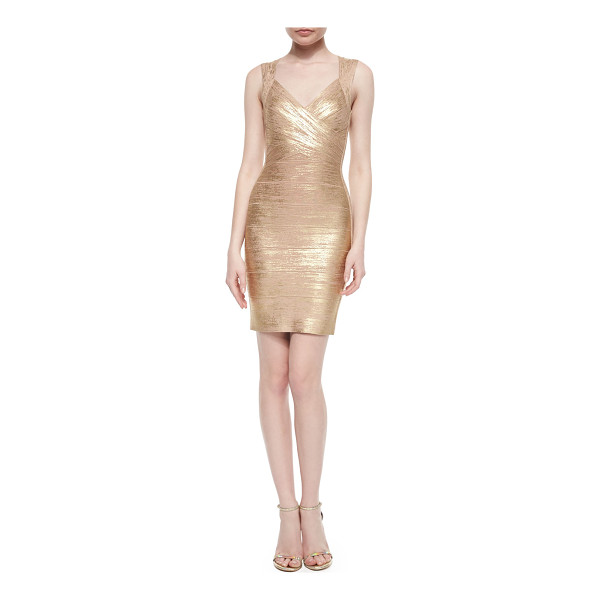 HERVE LEGER Crisscross Metallic Bandage Dress - Metallic bandage knit creates hourglass effect. Crisscross...
