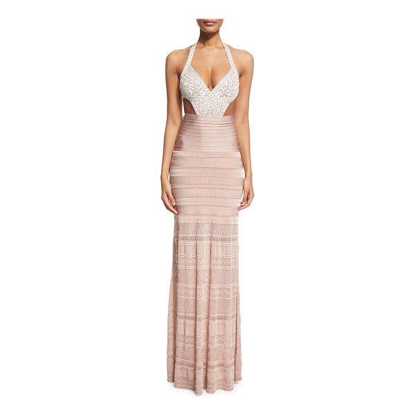 HERVE LEGER Embroidered Bandage Coverup Maxi Skirt - Herve Leger full-length coverup skirt in signature bandage