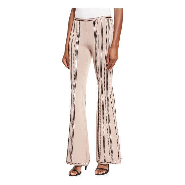 HERVE LEGER Low-Rise Flare-Leg Pants - Herve Leger knit pants with contrast stitching. Approx....