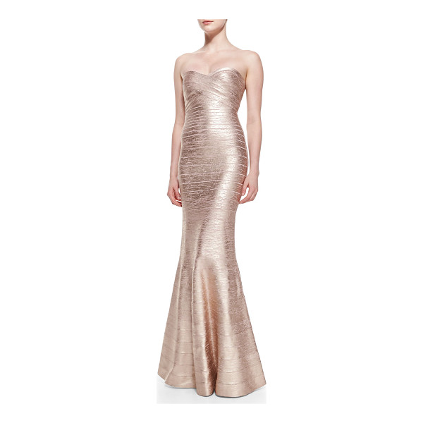 HERVE LEGER Sara signature metallic bandage gown - Herve Leger Sara gown in metallic bandage knit that widens...