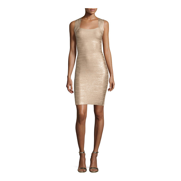HERVE LEGER Square-Neck Metallic Tank Dress - Herve Leger metallic signature knit bandage dress. Approx....