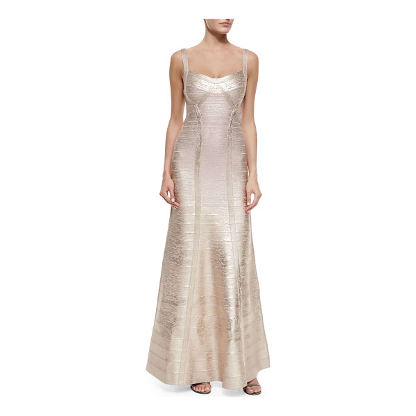 HERVE LEGER Wide-strap metallic bandage gown - Herve Leger metallic signature bandage knit gown. Approx....