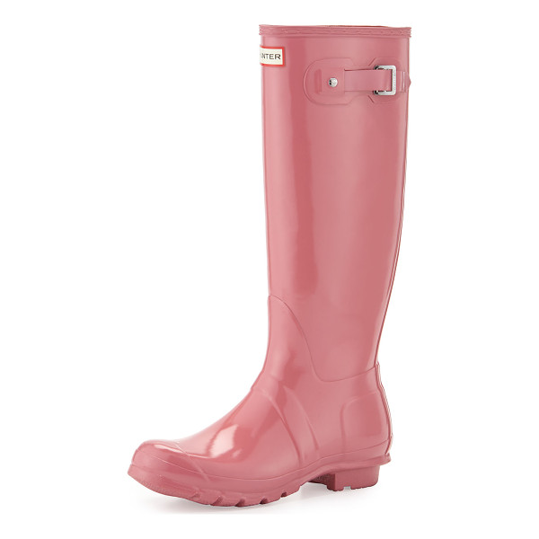 HUNTER Original Tour Buckled Welly Boot - Vulcanized rubber is pleasingly glossy, waterproof, and...