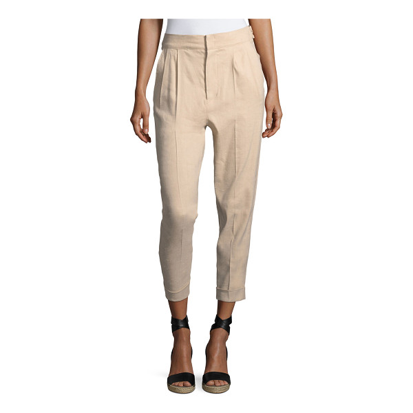 ISABEL MARANT Double-Pleat Cuffed Pants - Isabel Marant linen-blend pants. Side slip pockets; back...