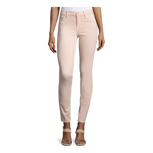 "J BRAND 485 Luxe Sateen Mid-Rise Skinny Pants - J Brand Jeans ""485"" luxe sateen pants feature improved..."