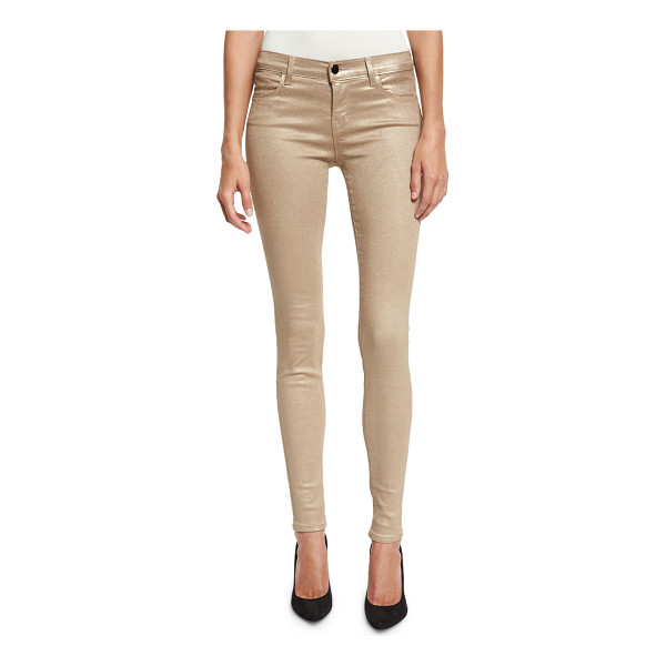 J BRAND 620 Mid-Rise Super Skinny Metallic Jeans - ONLYATNM Only Here. Only Ours. Exclusively for You. J Brand...
