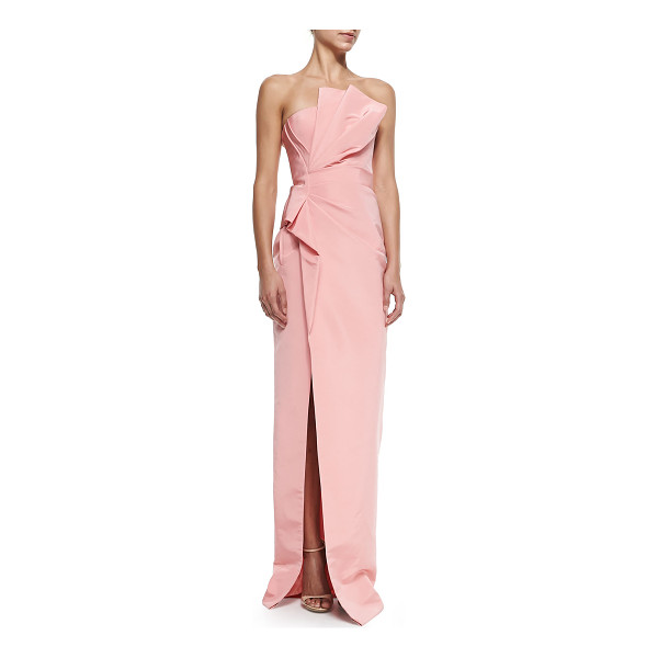 J. MENDEL Strapless draped-side column gown - Silk crepe gown by J. Mendel with right-side drape....