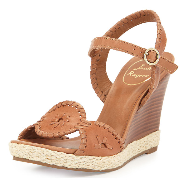 "JACK ROGERS Clare Rope Wedge Sandal - Jack Rogers leather sandal. 3.5"" stacked wedge heel; 0.75""..."